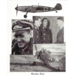 WW2 Luftwaffe fighter ace Gunter Rall KC signed 10 x 8 inch b/w montage photo. Good condition. All