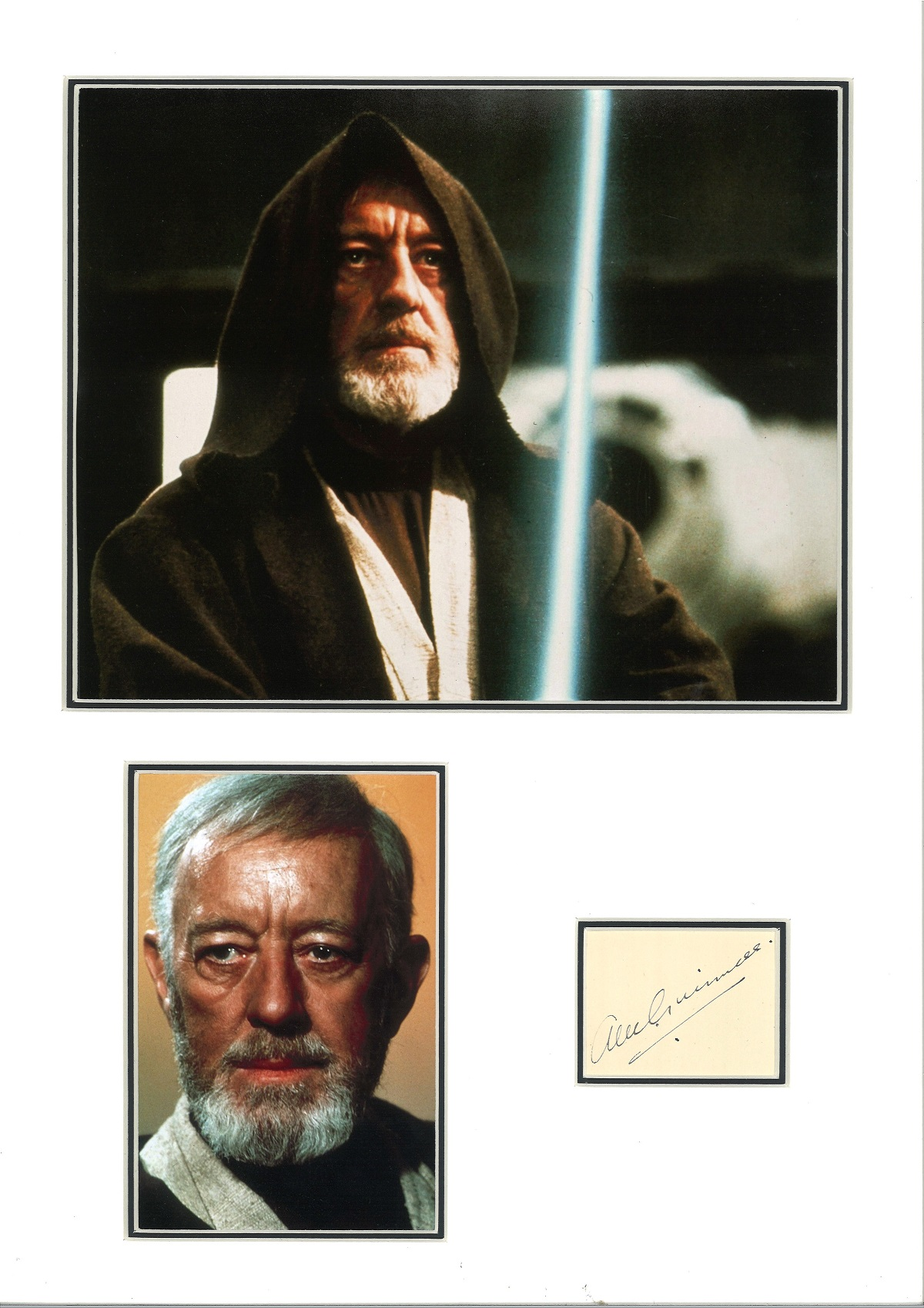 Alec Guinness 18x13 mounted signature piece includes two coloured photos pictured in his role as