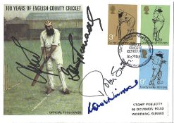 Cricket 100 Years of English County Cricket Official TCCB Cover signed by 4 Hampshire greats Mark
