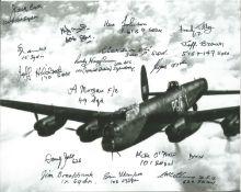 World War II Lancaster multi signed 10x8 black and white photo 16 bomber command veterans signatures