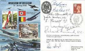 VC winners multi signed FDC Invasion of Belgium 10-28 May 1940 includes 9 fantastic signatures
