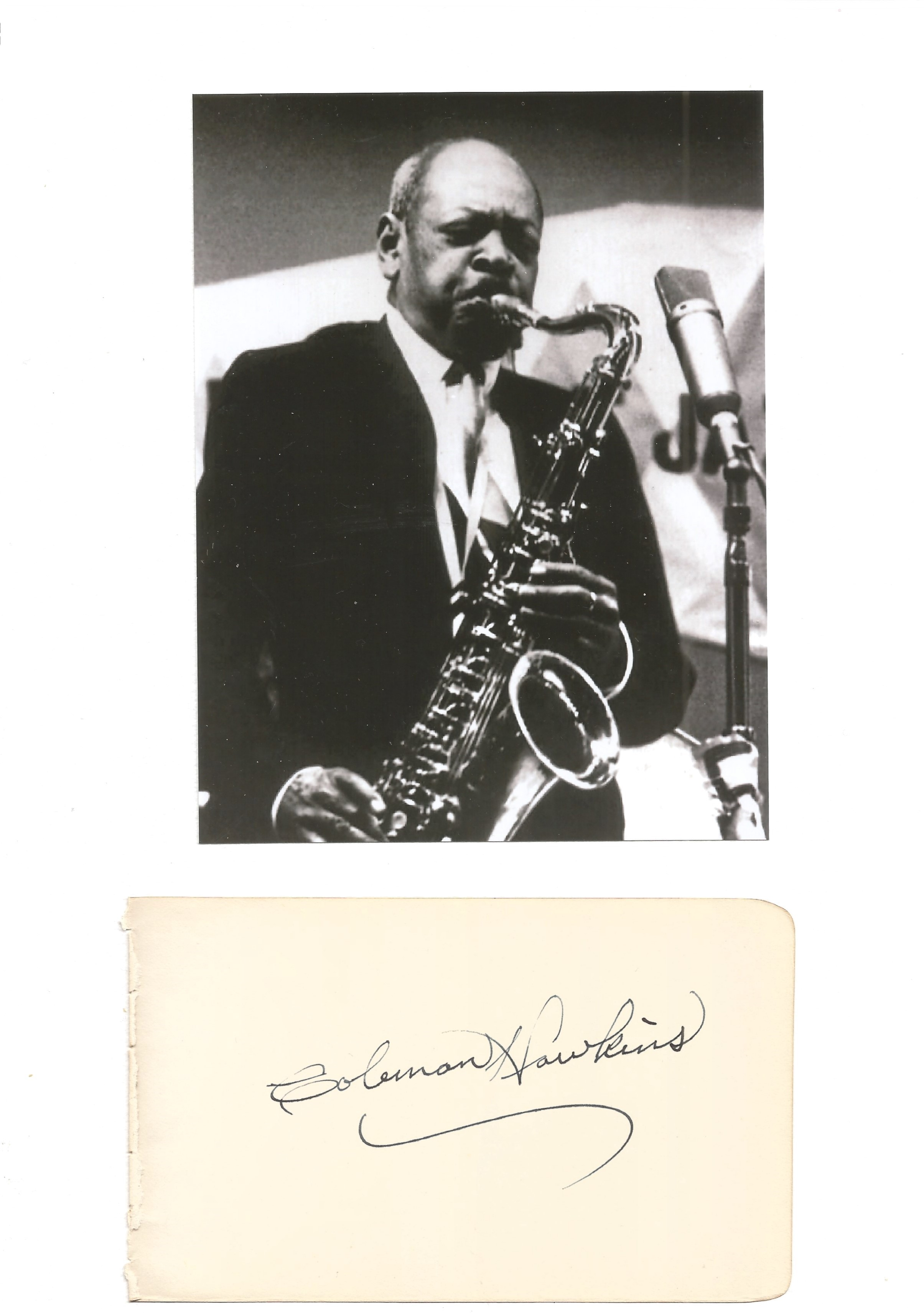 Music Coleman Hawkins signed rare autograph album page set on A4 page with b/w photo. Good