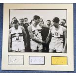 Four Minute Mile 19x18 mounted signature piece includes Roger Bannister, Chris Brashier and Chris
