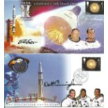 Nasa Space collection two fantastic signed FDC by Astronaut Walt Cunningham Apollo 7 mission and