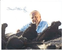 David Attenborough signed 10 x 8 inch colour photo, with collection of lizards. Good condition.