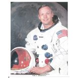 Neil Armstrong signed 10 x 8 inch colour white space suit photo. Original NASA photo printed on