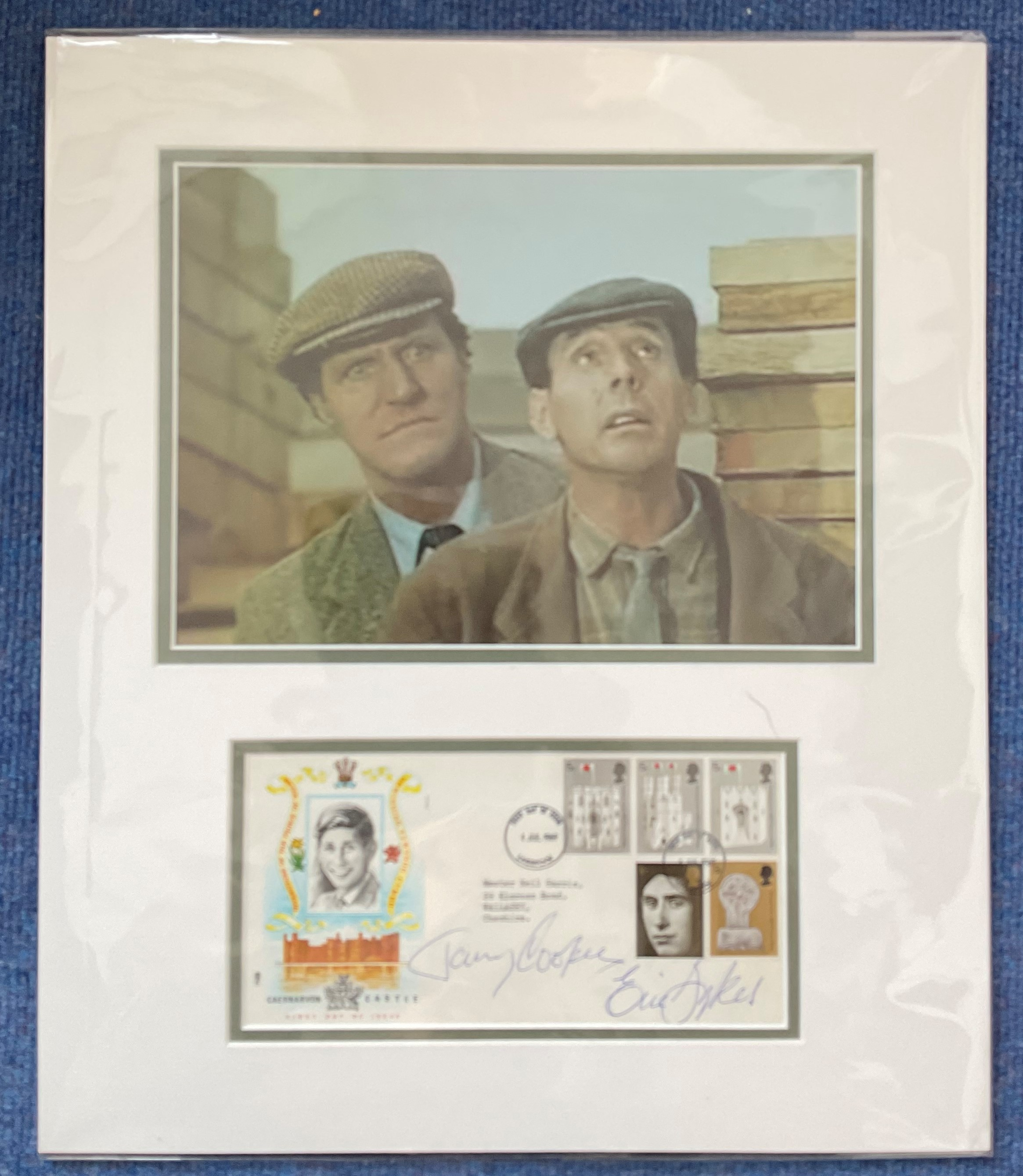 Tommy Cooper and Eric Sykes 18x15 mounted signature piece includes signed FDC Investiture of the