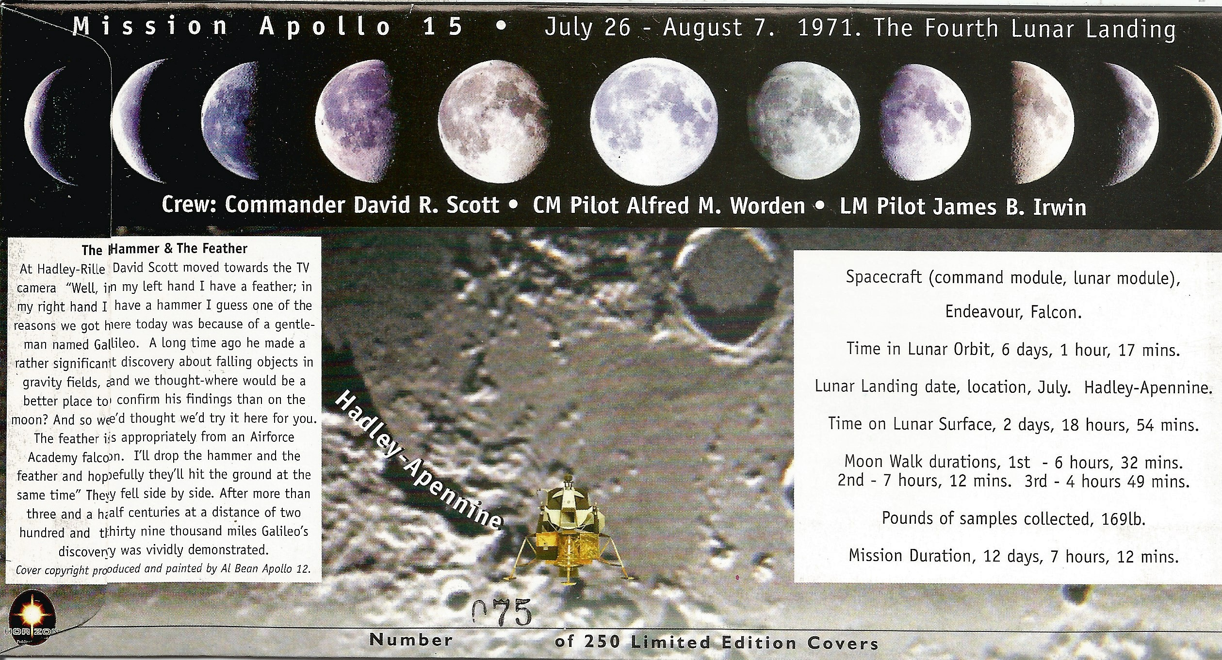 Space Apollo 15 Dave Scott and Al Worden signed 30th ann FDC. Good condition. All autographs come - Image 2 of 2