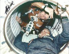 Astronauts Tom Stafford and Alexi Leonov signed ASTP 10x 8 inch colour photo. Good condition. All