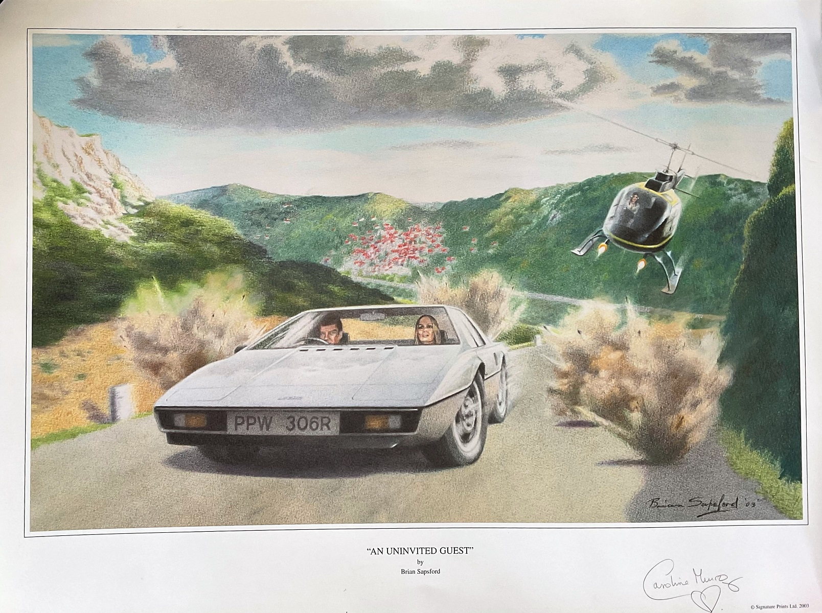 Bond Girl Caroline Munro signed 25x20 limited edition print titled An Uninvited Guest by the