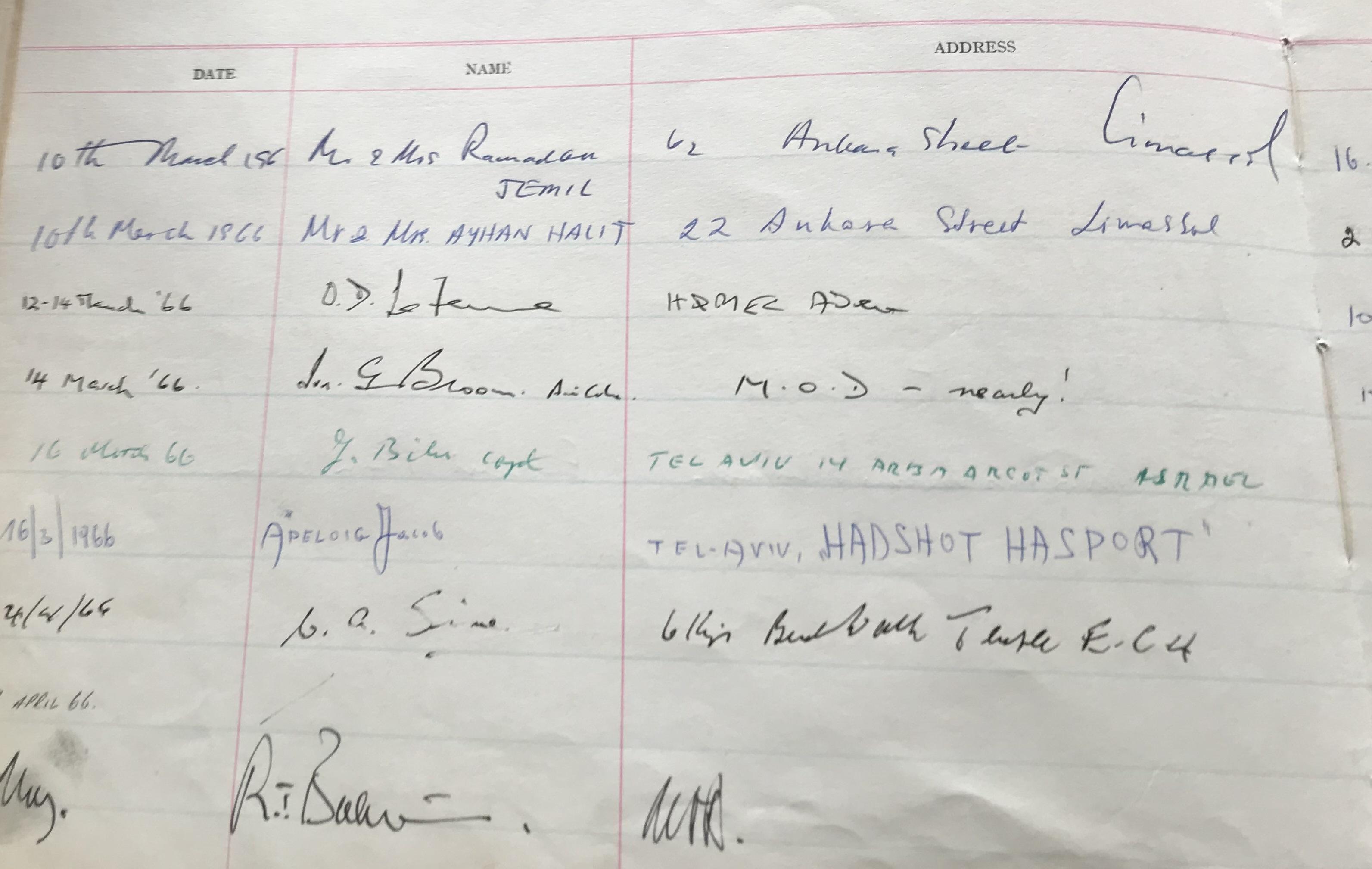 RAF Visitors Book Officers Mess EPISKOPI BFP053 dated 1965-1975 over 60 signatures some rare and - Image 11 of 18