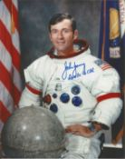 John Young Apollo 16 astronaut signed 10 x 8 inch colour white space suit photo. Good condition. All