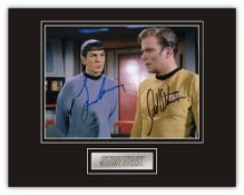 Stunning Display! Star Trek RARE DUAL SIGNED William Shatner and Leonard Nimoy hand signed
