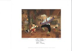 Eddie Carroll signed 14x11 Walt Disney Jiminy Cricket and Pinocchio aniamted colour print