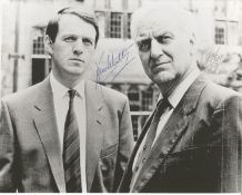 Morse John Thaw and Kevin Whatley signed 10 x 8 inch b/w photo, a scene from the series. Good