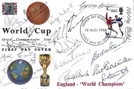 England World Cup 1966 multi signed Special Commemorative FDC 16 fantastic signatures include 10