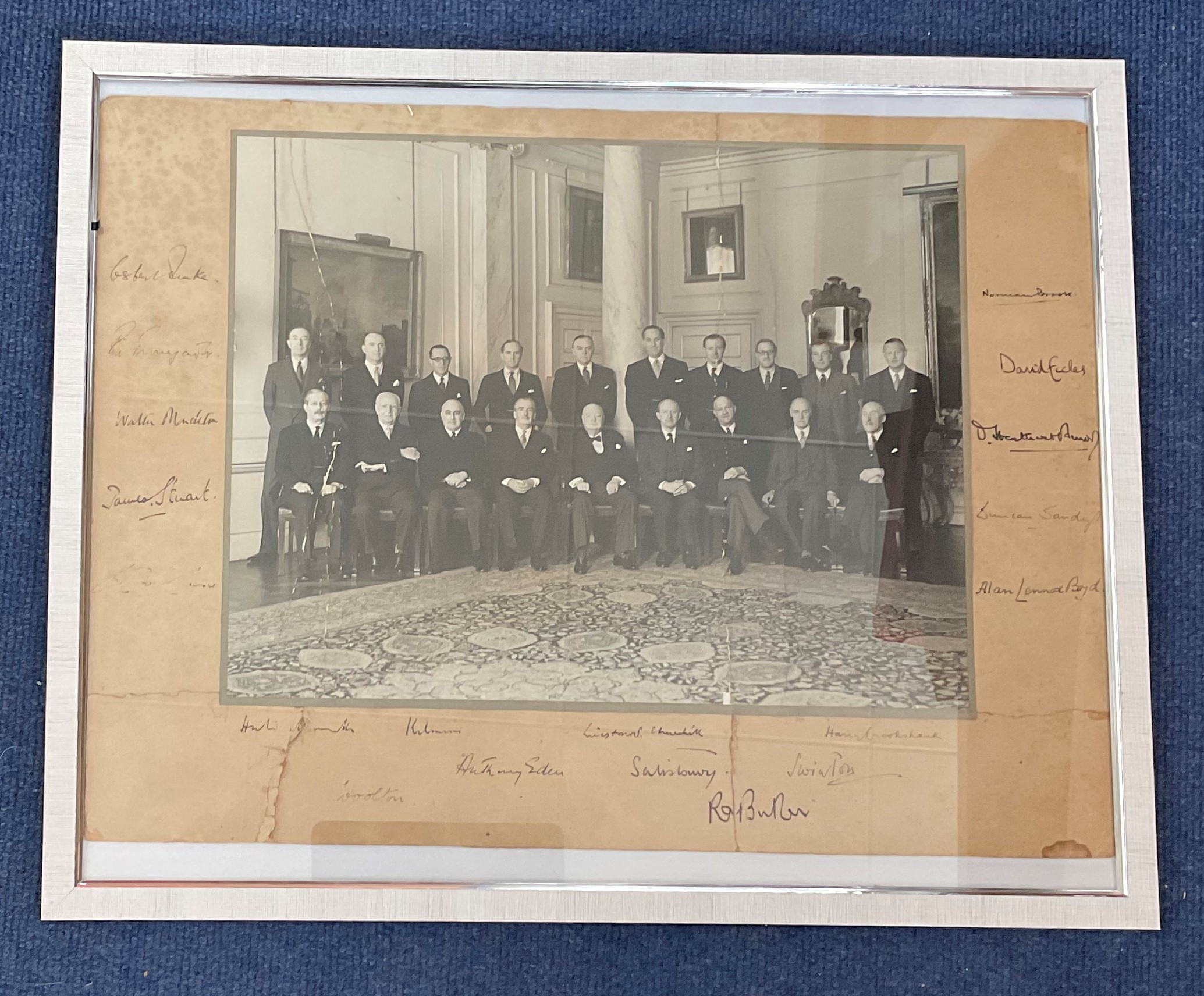 Winston Churchill Cabinet multi signed 21x17 mounted and framed signature piece includes rare