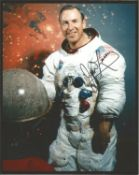 James Lovell Apollo 13 astronaut signed 10 x 8 inch colour white space suit photo. Good condition.