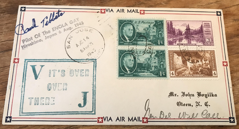 WW2 Atom Bomb pilot Brig Paul Tibbets signed 1945 US VJ day FDC. Good condition. All autographs come