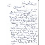 Great War fighter ace Baron Willy Coppins hand written four page letter 1971, with good content