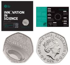 Royal Mint 'Innovation in Science' presentation pack with Stephen Hawking 2019 UK 50p brilliant