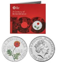 Royal Mint 2019 Century of Remembrance brilliant, uncirculated UK £5 coin presentation pack,