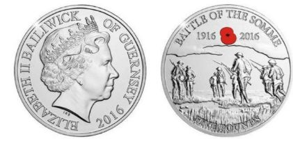 Royal Mint 2016 Battle of the Somme Centenary Guernsey £5 coin issued in support of the Royal