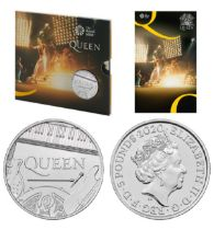 LIMITED EDITION Royal Mint 2020 Music Legends brilliant uncirculated UK £5 Queen coin cover