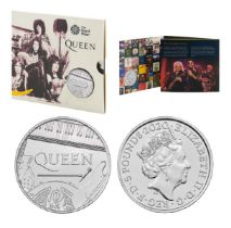 Royal Mint 2020 Music Legends brilliant uncirculated UK £5 Queen coin presentation pack. This coin