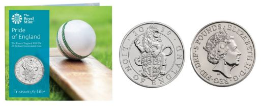 """Royal Mint Pride of England 2019 UK £5 brilliant uncirculated coin """"Lion of England"""" cricket"""