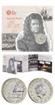 Royal Mint Samuel Pepys 2019 UK £2 brilliant uncirculated presentation pack. Marks the 350th