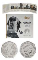 Royal Mint Sherlock Holmes 2019 UK 50p brilliant uncirculated coin in original unopened packaging.