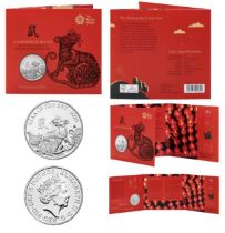 Royal Mint 'Lunar Year of the Rat' presentation pack featuring 2020 UK £5 brilliant uncirculated