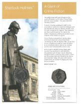 Royal Mint Sherlock Holmes 2019 UK 50p brilliant uncirculated coin encapsulated within a bookmark,