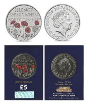 Royal Mint 2017 Remembrance Day brilliant, uncirculated UK £5 coin with coloured poppy design,