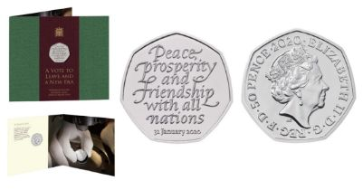 Royal Mint Withdrawal from the European Union 2020 UK 50p brilliant uncirculated coin presentation