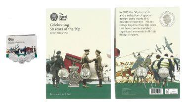 Royal Mint 2019 presentation pack celebrating 50 Years of the 50p - British Military Set. Brilliant,
