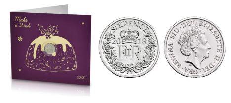 Royal Mint Christmas 2018 'Make a Wish' UK sixpence within a Christmas Pudding design card,