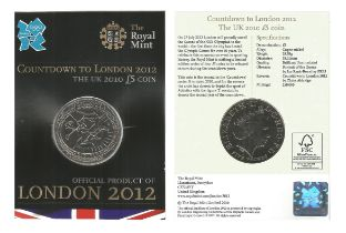 Royal Mint 2010 Countdown to London 2012 UK brilliant uncirculated UK £5 coin encapsulated in
