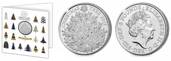 Royal Mint Christmas UK £5 brilliant, uncirculated coin encapsulated in a Christmas card which was