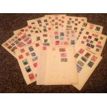 World Stamp Collection 14 loose album pages countries include Belgium and Belgian Congo. Good