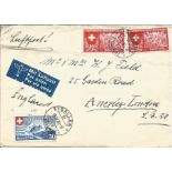 Swiss cover with 3 stamps issued 1939. Good condition. We combine postage on multiple winning lots