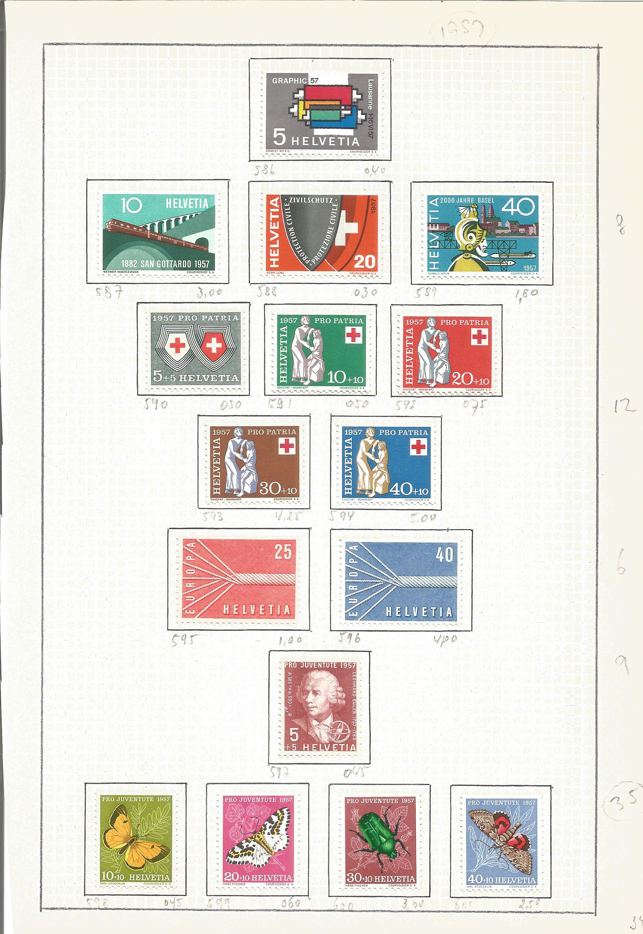 Swiss mint stamps on album page. 16 stamps. 1957. Good condition. We combine postage on multiple