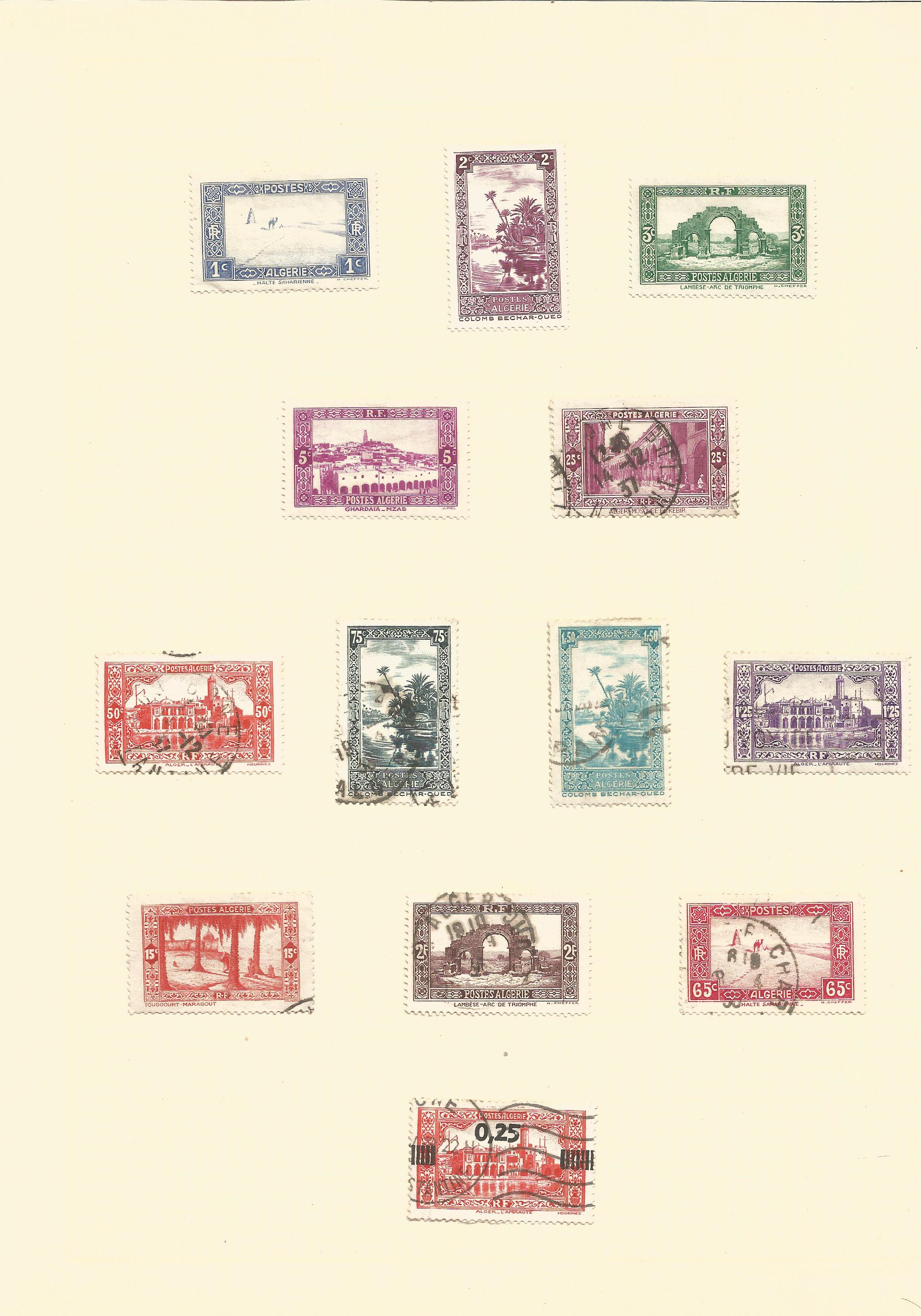 Algeria mint and used stamps on 4 pages. Good condition. We combine postage on multiple winning lots