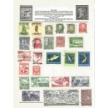 Foreign stamp collection on 8 album pages. Includes Poland, Yugoslavia, Hungary, USA. Good