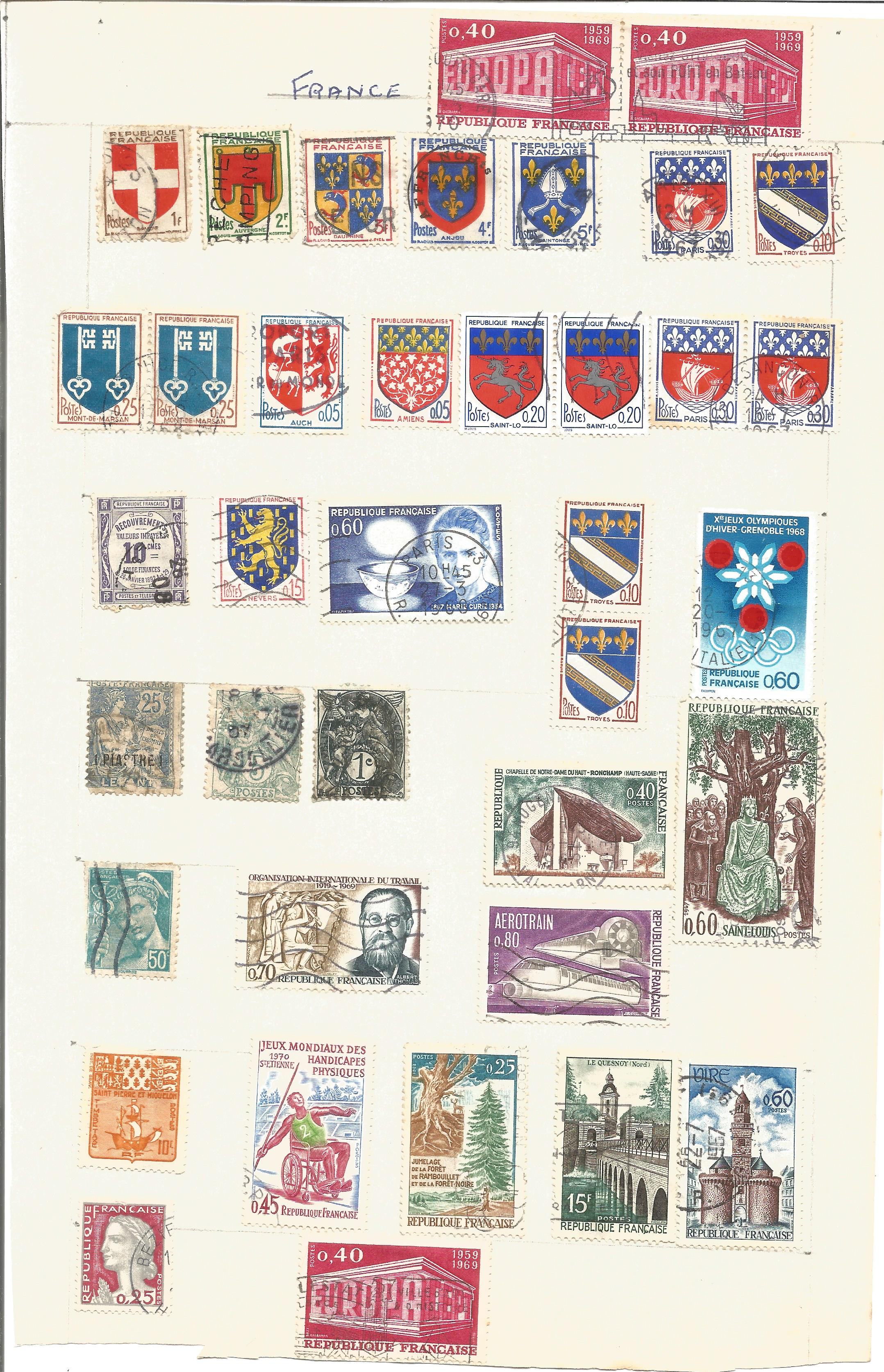 France and Colonies stamp collection on 8 loose pages. Good condition. We combine postage on