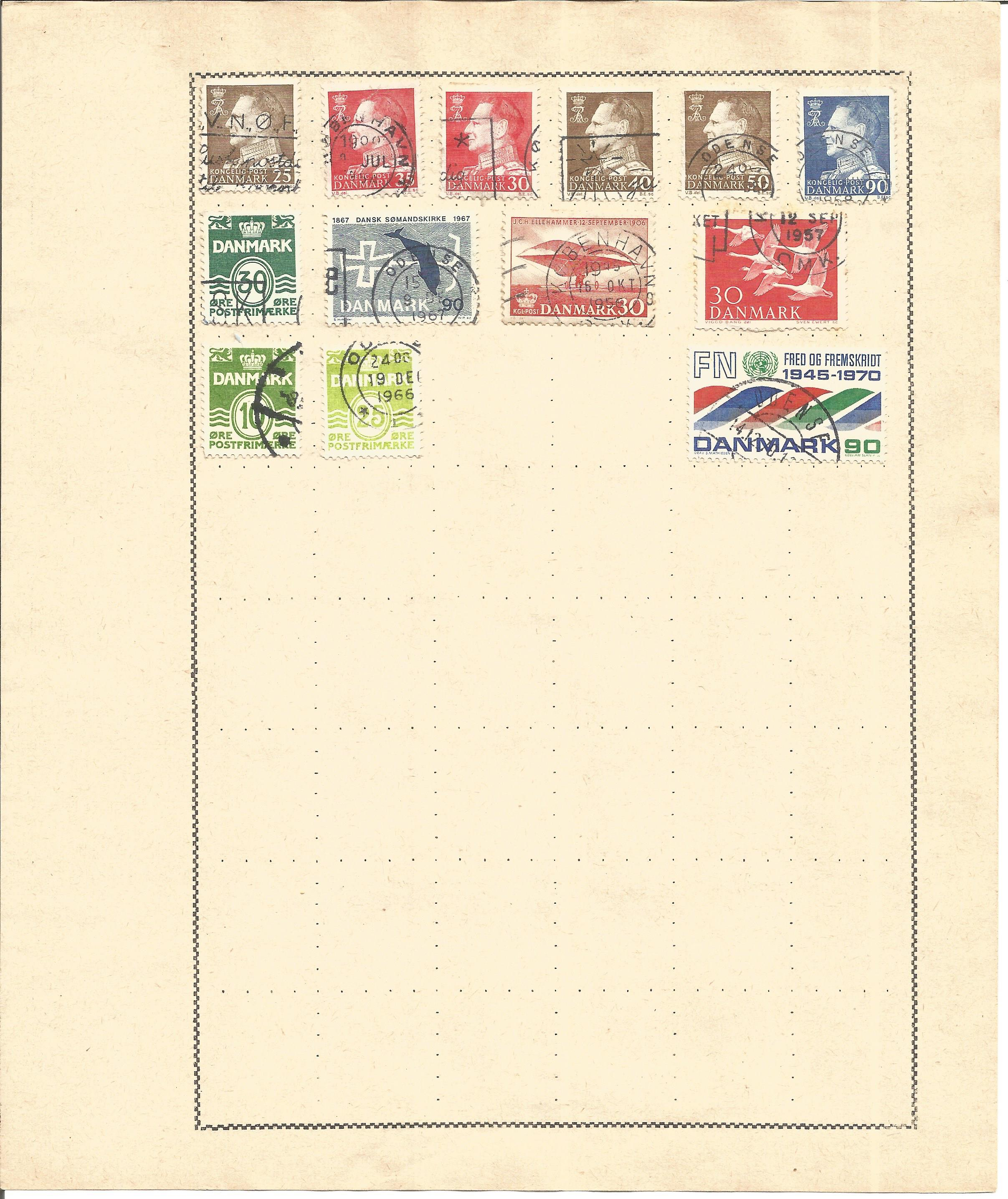 European Stamp collection 5 loose album leaves countries include Denmark and Norway. Good condition. - Image 3 of 3