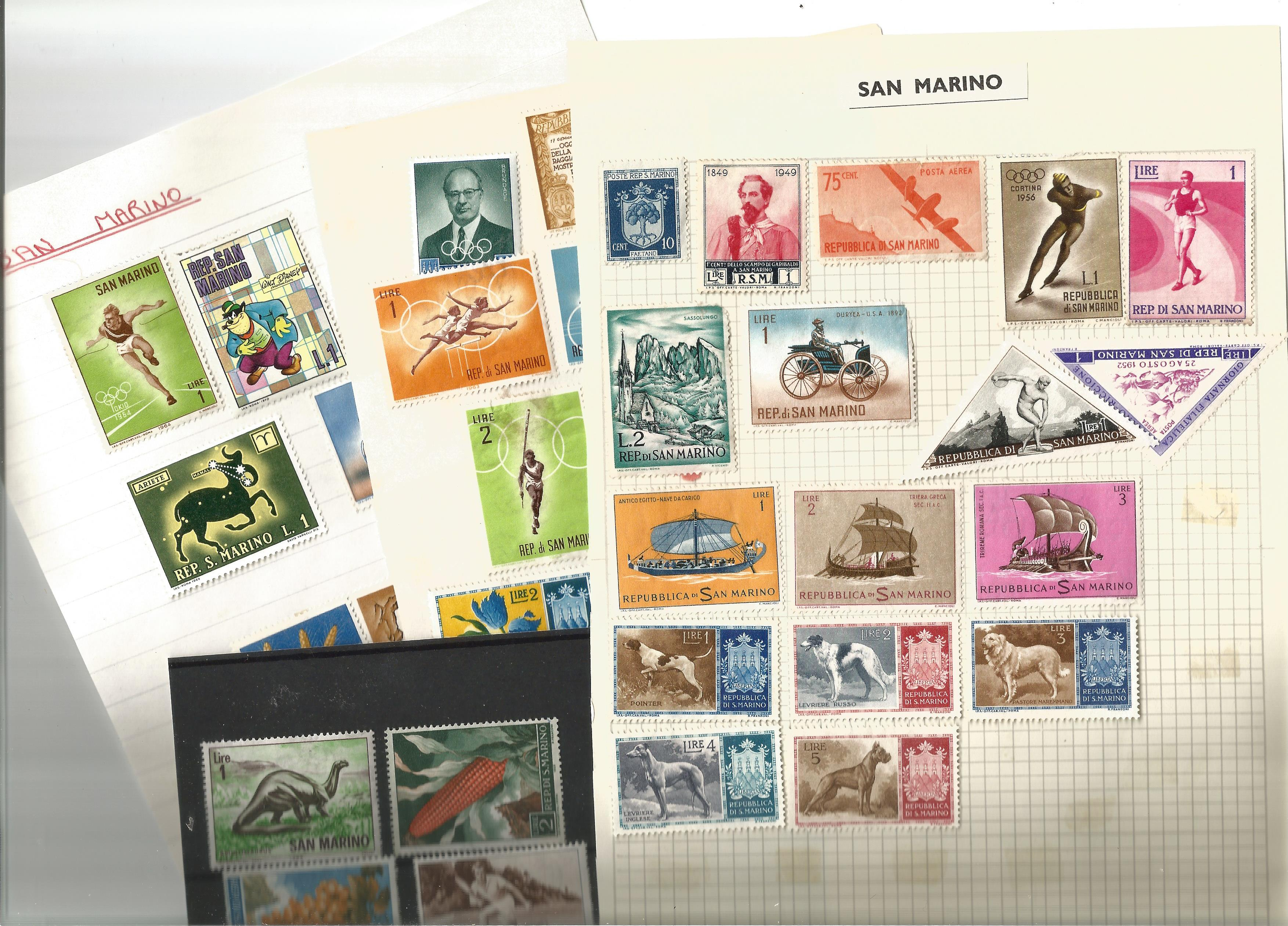 San Marino stamp collection on 13 loose pages. Good condition. We combine postage on multiple