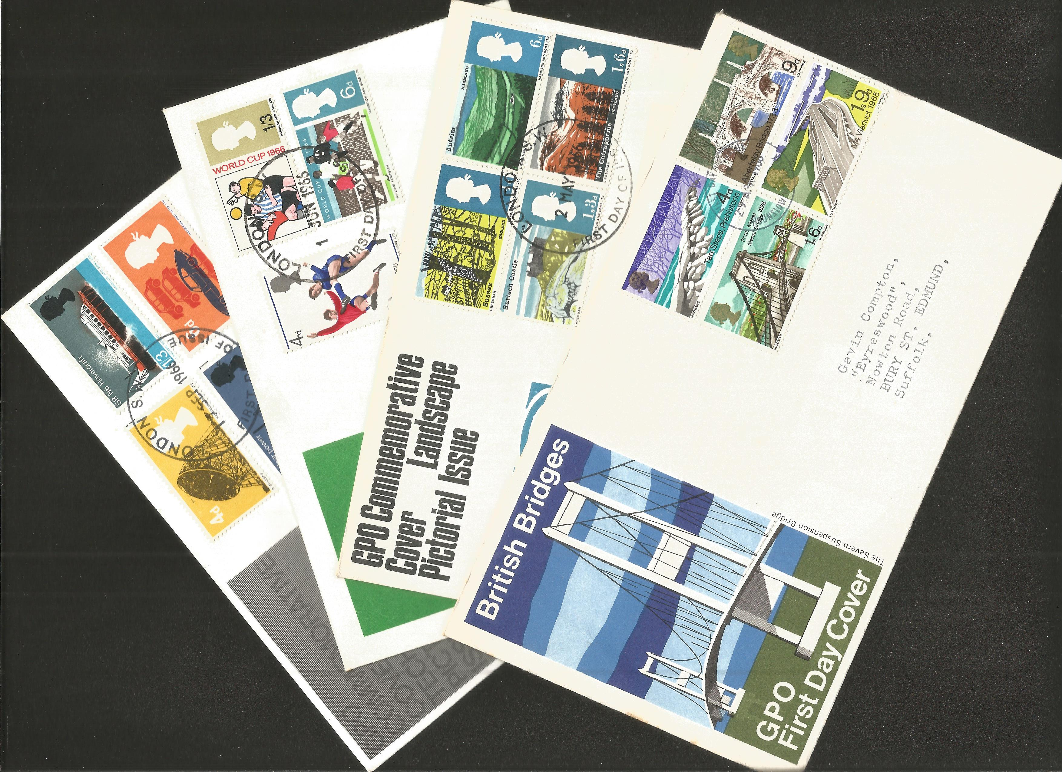 GB FDC collection. 9 included. 1966/1967. Typed addresses. Good condition. We combine postage on
