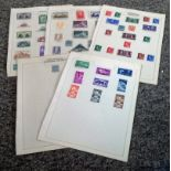 World stamp collection 5 loose album pages mint stamps countries include Spain, Morocco Agencies and